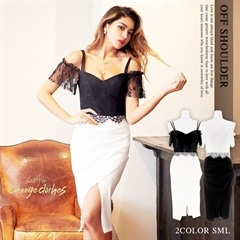 [SMLサイズ]アイラッシュレース×モノトーンタイトドレス[3サイズ展開][送料無料][change clothes]