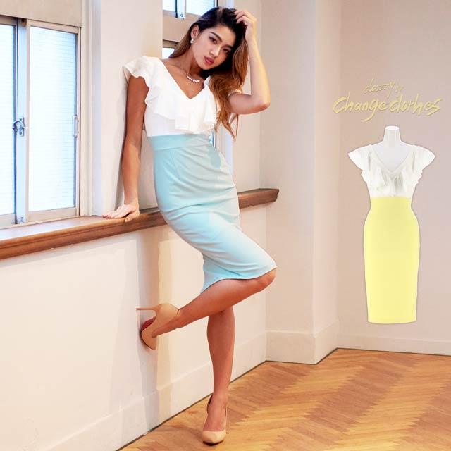 10/15UP[SMLサイズ]レースフリルバイカラータイトドレス[3サイズ展開][送料無料][change clothes][GABBY]