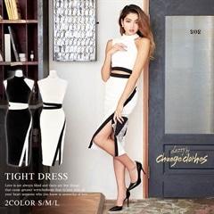 [SMLサイズ]スリット入りウエスト開きバイカラータイトドレス[3サイズ展開][送料無料][change clothes][12/15再入荷]