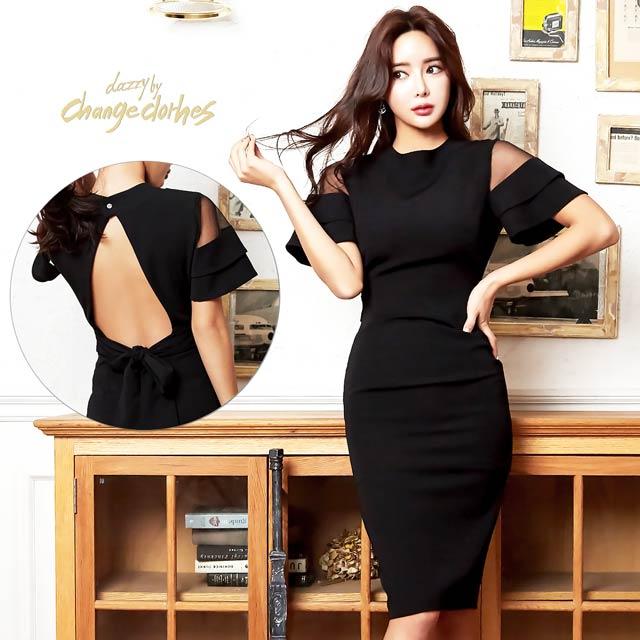 キム ボラム着用[SMLサイズ]ワンカラー背中開きタイトドレス[3サイズ展開][change clothes][送料無料][3/6再入荷]