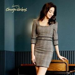 2/22UP[SMLサイズ]五分袖ツイードタイトドレス[3サイズ展開][change clothes][送料無料]