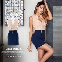 [SMLサイズ]ネックレス付きバイカラータイトミニドレス[3サイズ展開][送料無料][change clothes][12/7再入荷]