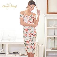 [S/Mサイズ]大判Flower柄オフショルダータイトドレス[2サイズ展開][change clothes]