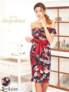 [S/M/Lサイズ]リボン付きぼかしレトロFlower柄オフショルダータイトドレス[3サイズ展開][送料無料][change clothes]