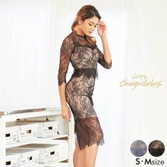 5/18UP[S/Mサイズ]2ピース風総レースタイトドレス[2サイズ展開][送料無料][change clothes]
