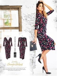 [S/Mサイズ]flowerプリントスリット入りラップ風ギャザードレス[2サイズ展開][change clothes][送料無料]
