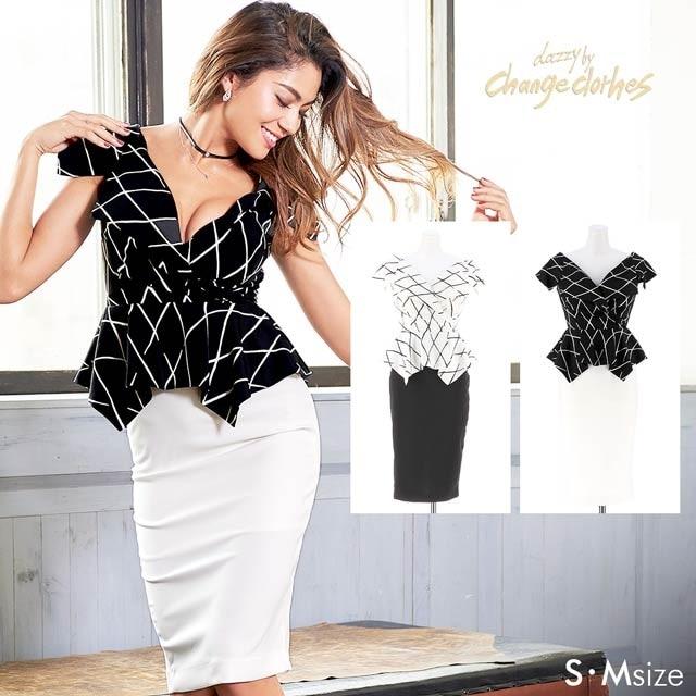 [S/Mサイズ]ウインドウペンチェック柄ペプラムタイトドレス[2サイズ展開][change clothes][送料無料]