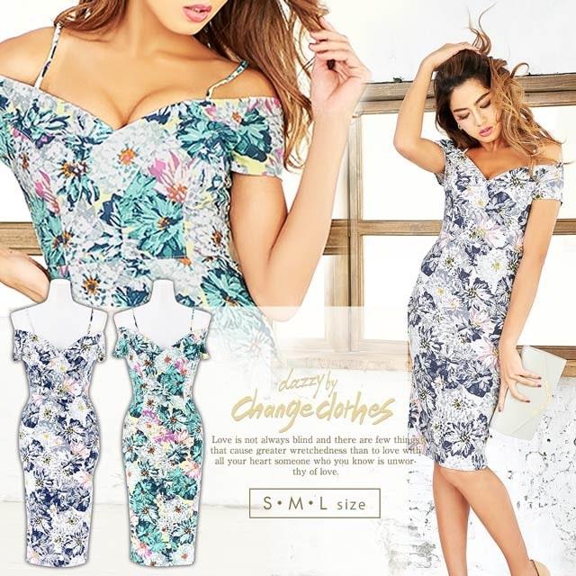 [S/M/Lサイズ]flowerオフショルダードレス[3サイズ展開][change clothes][送料無料]