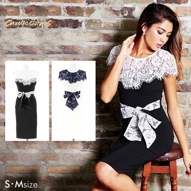 5/30UP[S/Mサイズ]デコルテ透けレースバイカラータイトドレス[2サイズ展開][change clothes][送料無料]