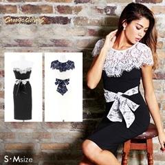 [S/Mサイズ]デコルテ透けレースバイカラータイトドレス[2サイズ展開][change clothes][送料無料]