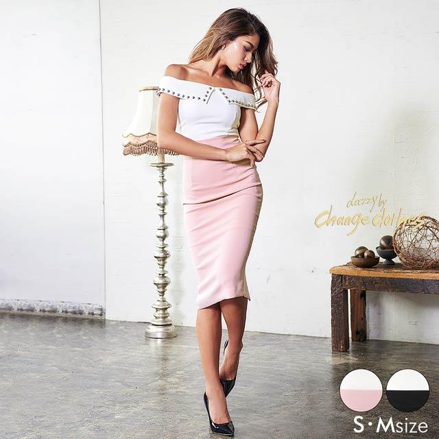 [S/Mサイズ]丸スタッズ襟付バイカラータイトドレス[2サイズ展開][change clothes][送料無料]