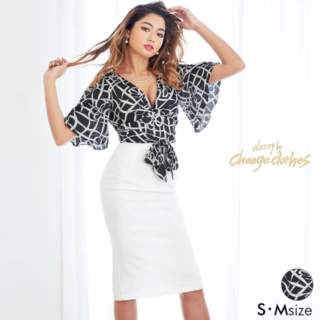 4/30UP[S/Mサイズ]モノトーンリボン柄フレアスリーブタイトドレス[2サイズ展開][送料無料][change clothes]