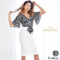 [S/Mサイズ]モノトーンリボン柄フレアスリーブタイトドレス[2サイズ展開][送料無料][change clothes]