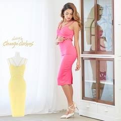 [S/Mサイズ]胸元コードxキャンディカラータイトドレス[2サイズ展開][change clothes]