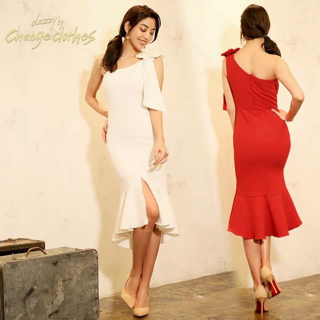 [SMLサイズ]肩リボンワンショルダータイトドレス[3サイズ展開][change clothes][送料無料]