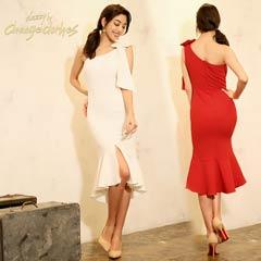 3/25UP[SMLサイズ]肩リボンワンショルダータイトドレス[3サイズ展開][change clothes][送料無料]
