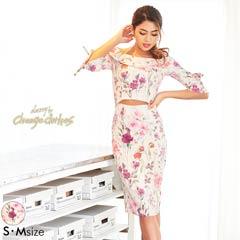 [S/Mサイズ]ウエストカット花柄オフショルタイトドレス[2サイズ展開][change clothes][送料無料]
