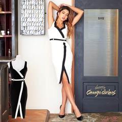10/15UP[SMLサイズ]スリット入りバイカラータイトドレス[3サイズ展開][送料無料][change clothes][GABBY]