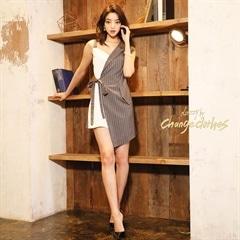 2/22UP[SMLサイズ]ストライプラップタイトミニドレス[3サイズ展開][change clothes][送料無料]