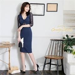 5/8UP[SMLサイズ]袖レースシンプルタイト膝丈ドレス「[3サイズ展開][change clothes][送料無料]