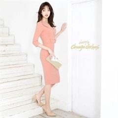5/6UP[SMLサイズ]襟付きフェイクベルトタイト膝丈ドレス[3サイズ展開][change clothes][送料無料]