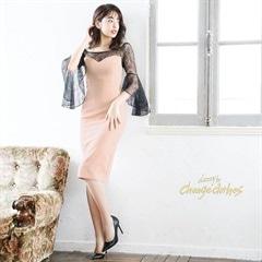 5/6UP[SMLサイズ]アンブレラスリーブタイト膝丈ドレス[3サイズ展開][change clothes][送料無料]