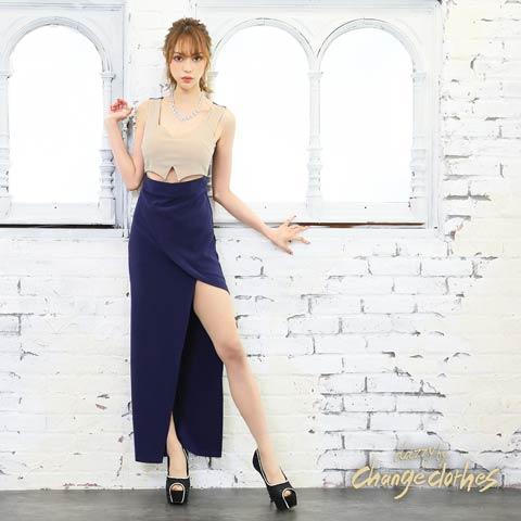 ウエストカットバイカラーロングタイトロングドレス[2サイズ展開][change clothes][送料無料]