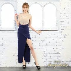 [S/Mサイズ]ウエストカットバイカラーロングタイトロングドレス[2サイズ展開][change clothes][送料無料]