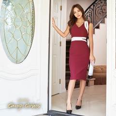 10/30UPキム ボラム着用[SMLサイズ]シンプルバイカラーカッティングタイト膝丈ドレス[3サイズ展開][change clothes][送料無料]