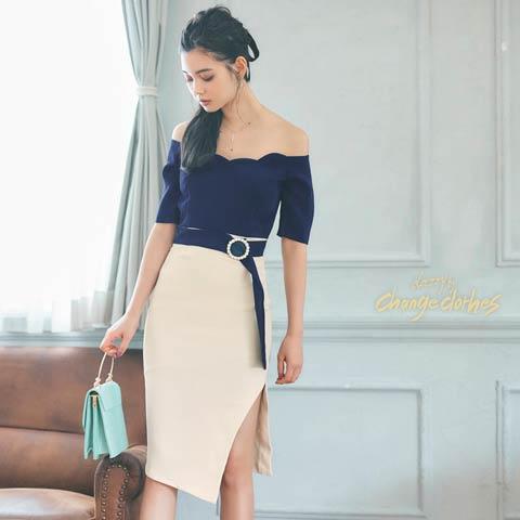 [SMLサイズ]サイドバイカラーノースリタイトドレス[3サイズ展開][change clothes][送料無料]