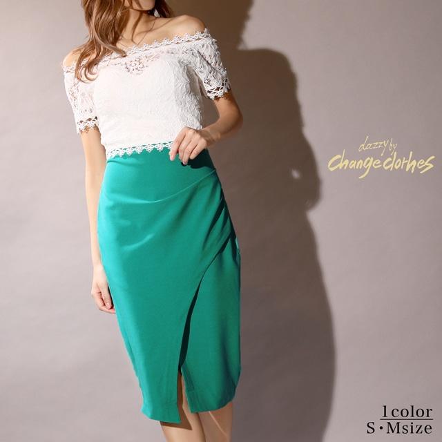 [韓国ドレス]レーストップスオフショルビビッドタイト膝丈ドレス[change clothes]