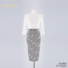 キム ボラム着用[SMLサイズ]シンプルレースx幾何学模様タイト膝丈ドレス[3サイズ展開][change clothes][送料無料]