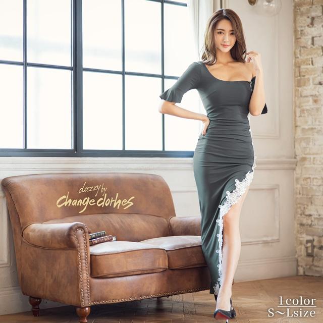 riregram着用[韓国ドレス]モノトーンフラワー刺繍オフショルロングドレス[change clothes]