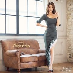 riregram着用[韓国ドレス]モノトーンフラワー刺繍オフショルロングドレス[change clothes][送料無料]