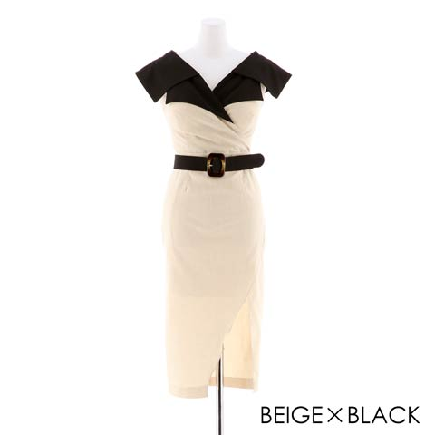 朝比パメラ着用[韓国ドレス]デコルテカシュクールベルトデザインタイトドレス[change clothes](ベージュ×ブラック-Sサイズ)