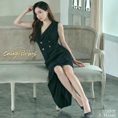 riregram着用[韓国ドレス]ボタンモチーフスリットタイトロングドレス[change clothes][送料無料]