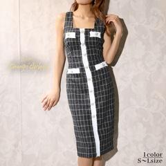 12/28UP[韓国ドレス]クラシカルツイードチェックタイト膝丈ドレス[change clothes][送料無料]