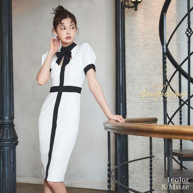 3/16UPキム ボラム着用[S/Mサイズ]ラインデザインホワイトタイト膝丈ドレス[2サイズ展開][change clothes][送料無料]