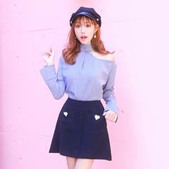 【明日花キララ着用】Heart Bijou Mini Skirt ハートビジューミニスカート[Whip Bunny]