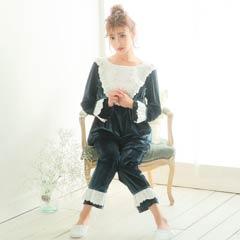 【明日花キララ着用】Feminine Girly Velor Long Pants Setup フェミニンガーリーベロアロングパンツセットアップ[Whip Bunny]