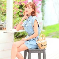 【明日花キララ着用】Flower Motif Basket bag フラワーモチーフ付きカゴバッグ[Whip Bunny]
