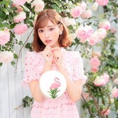 【明日花キララ着用】Flamingo Round Pochette フラミンゴ刺繍丸形ポシェット[Whip Bunny]
