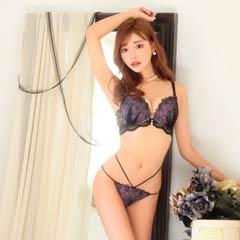 【明日花キララ着用】Floral Line Bra&Shorts / Purple フローラルラインブラ&ショーツ / パープル[Whip Bunny]