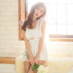 【明日花キララ着用】Feminine Chiffon Camisole One-piece/White フェミニンシフォンキャミソールワンピース/ホワイト[Whip Bunny]