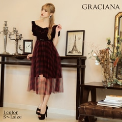 6/30UP ダレノガレ明美着用【GRACIANA】Plaid Tulle Off-shoulder Long Onepiece
