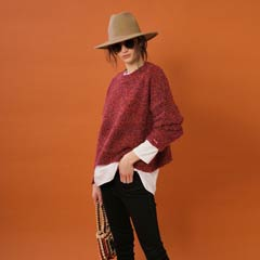 10/23UP【thorio port House】Asymmetry damage knit