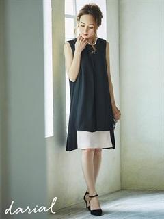 バイカラーボックスラインワンピースドレス[darial]