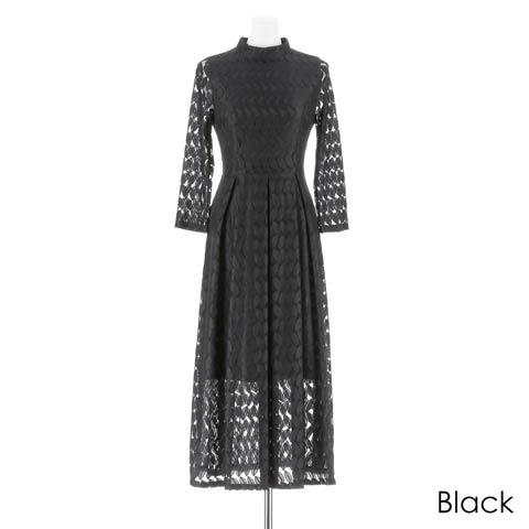 [darial]リーフモチーフアンクル丈ドレス(ブラック-Sサイズ)