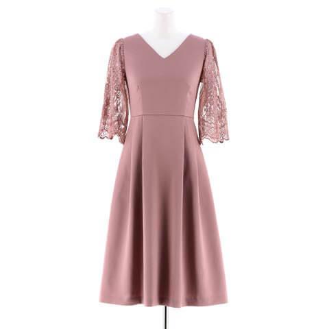 [darial]ヴィクトリアンレースサテンフレアワンピースドレス(ピンク-XSサイズ)