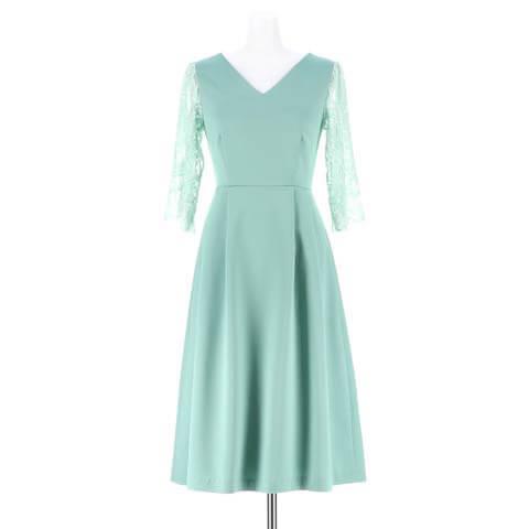 [darial]ヴィクトリアンレースサテンフレアワンピースドレス(ミント-XSサイズ)